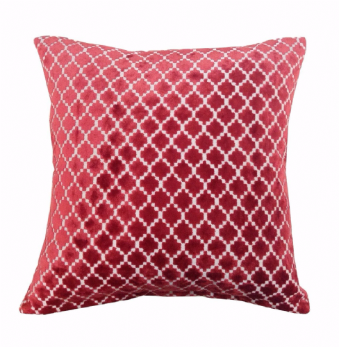 STYLISH LUXURY VELVET CHENILLE TEXTURED FILLED CUSHION RED COLOUR